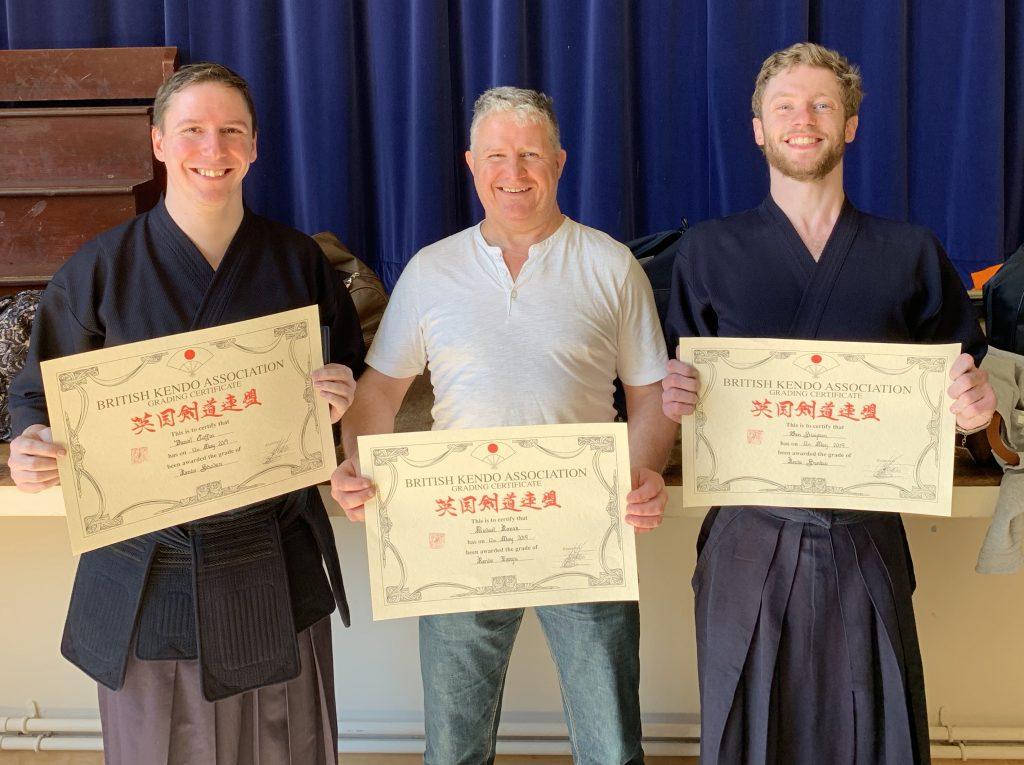 Dan, Mick and Ben holding certificates!